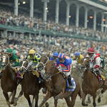 Horses racing in a past Kentucky Derby.