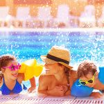 Happy Family in Las Vegas Pool for Labor Day